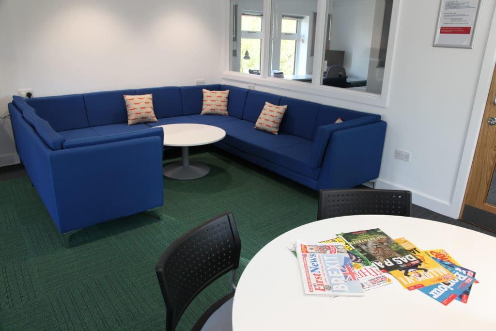Epsom College Staff Room blue sofas