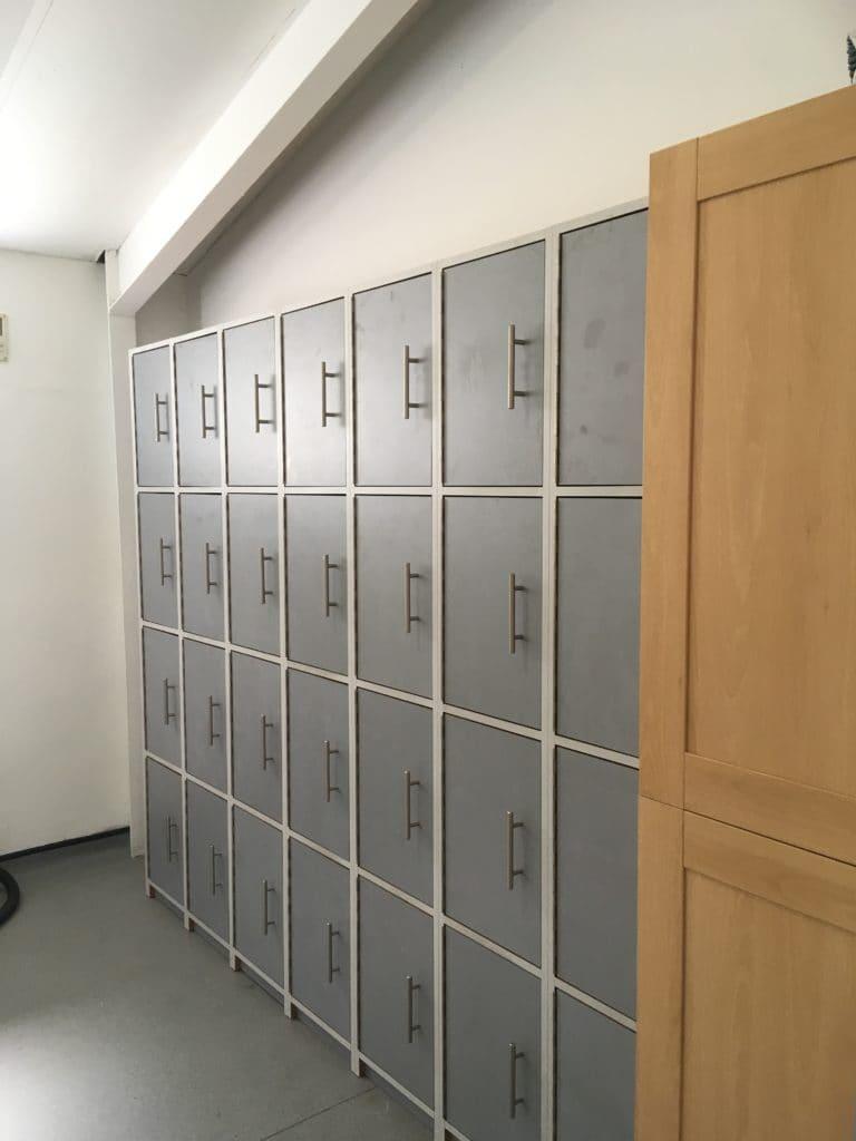Grey locker cabinets