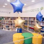 Blue Coat School Library with balloons